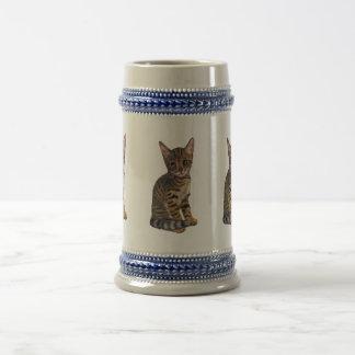Bengal Kitten, Color Pencil Drawing, Cat Beer Stein