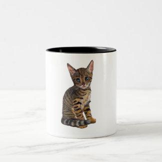 Bengal Kitten: Color Pencil Drawing: CAT Two-Tone Coffee Mug
