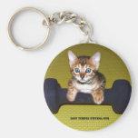 bengal kitten exercising keychain