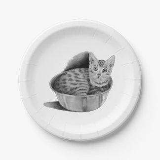 Bengal Kitten in Steel Bowl, Pencil Drawing Art Paper Plate