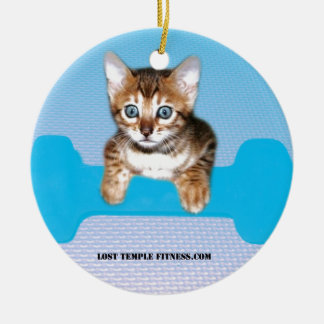 Bengal Kitten with Dumbbell blue Double-Sided Ceramic Round Christmas Ornament