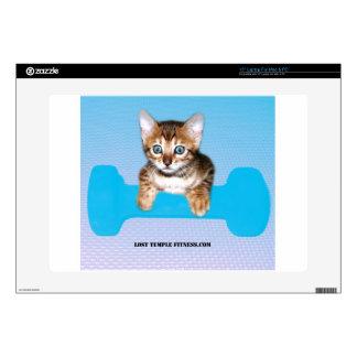"""Bengal Kitten with Dumbbell blue Skin For 15"""" Laptop"""