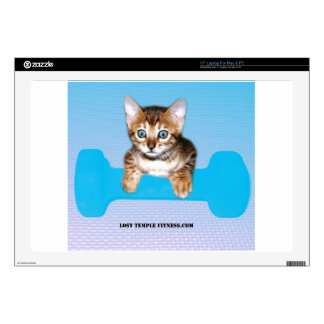 """Bengal Kitten with Dumbbell blue 17"""" Laptop Decal"""