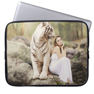 Bengal Tiger and Lady Computer Sleeve