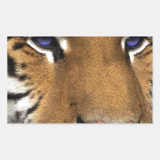 Bengal Tiger Animal Print blue Eyes Rectangular Sticker