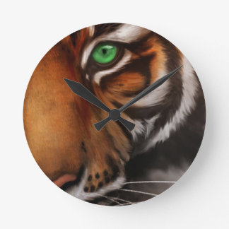 Bengal Tiger Animal Print Eye Round Clock