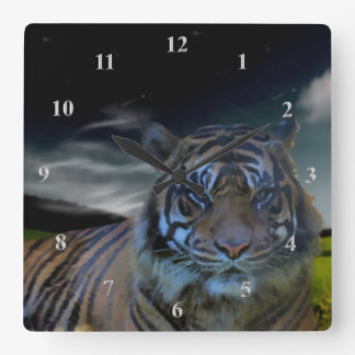 Bengal Tiger Face Nature | Wildlife Fantasy Clock