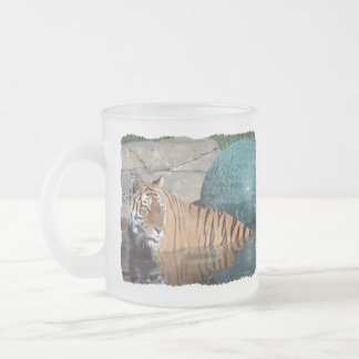 Bengal Tiger Frosted Left-Handed Glass Coffee Mug