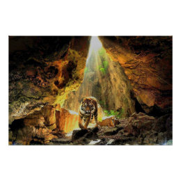 Bengal Tiger In Cave Poster