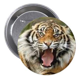 Bengal tiger in full rage cute button design