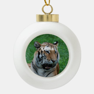 Bengal Tiger in India Ceramic Ball Christmas Ornament