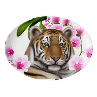 Bengal Tiger in Orchid Flowers Platter Porcelain Serving Platter