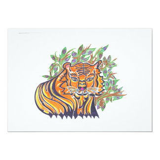 Bengal Tiger in the lush foliage 5x7 Paper Invitation Card