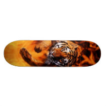 Bengal Tiger Jumping Flames SB Skateboard Deck
