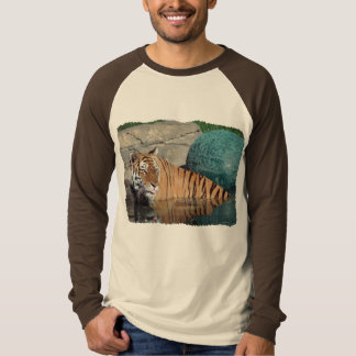 Bengal Tiger Mens Tan and Brown Raglan T-Shirt
