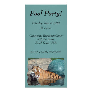 Bengal Tiger Pool Party Invite Photo Card