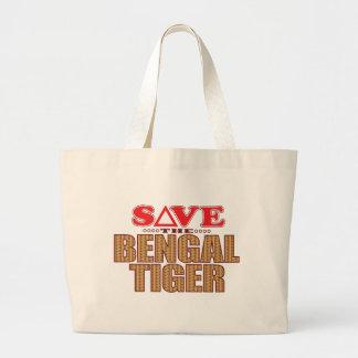 Bengal Tiger Save Large Tote Bag