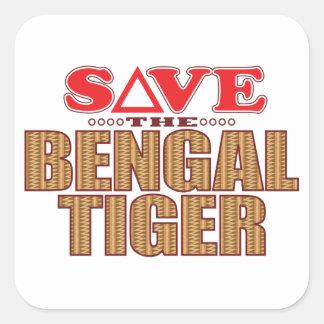 Bengal Tiger Save Square Sticker