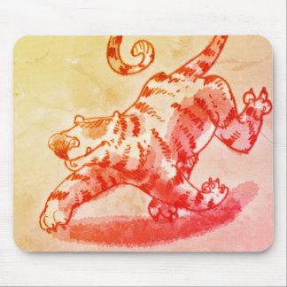 bengal tiger walking cartoon style illustration mouse pad