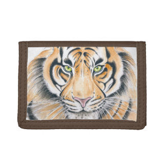 Bengal Tiger Watercolor Ink art Trifold Wallet
