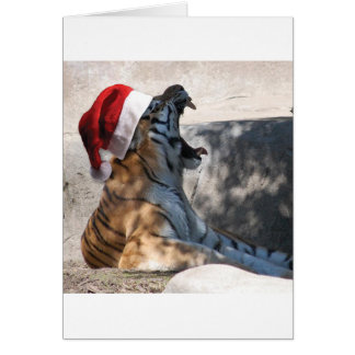 Bengal Tiger with a Santa Hat Card