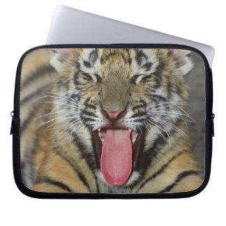 Bengal tiger yawning laptop sleeve