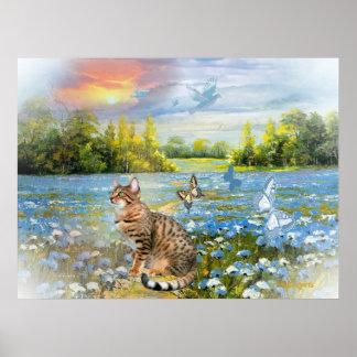 Bengala en cama de la impresión azul de las flores póster