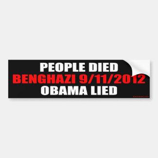 Benghazi 9/11/2012 car bumper sticker