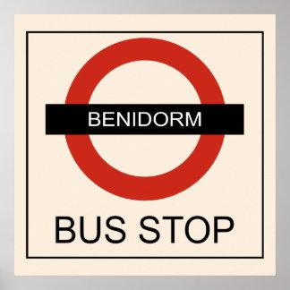 Benidorm Bus Stop Poster