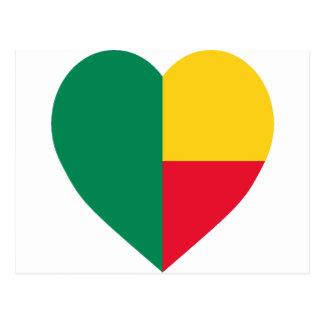 Benin FlagHeart Postcard