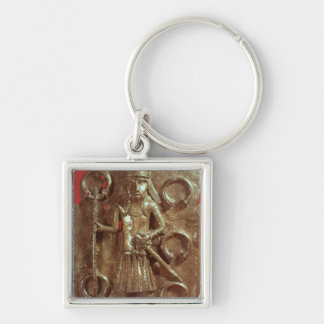Benin plaque Silver-Colored square keychain