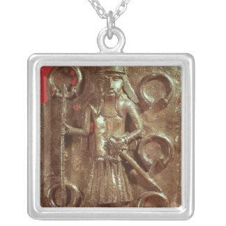 Benin plaque square pendant necklace