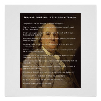 Benjamin Franklin 13 principios de éxito Póster