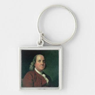 Benjamin Franklin, 1782 Llavero Cuadrado Plateado