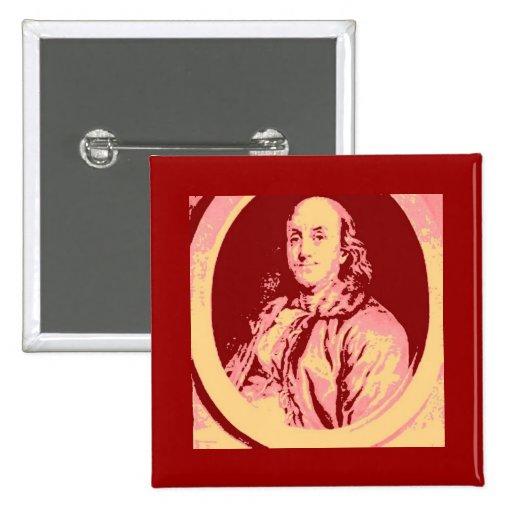 Benjamin Franklin 2 Inch Square Button