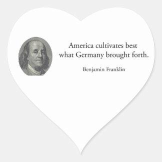 Benjamin Franklin - America Germany quote USA Heart Sticker