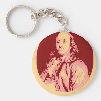 Benjamin Franklin Basic Round Button Keychain