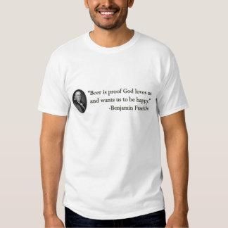 Benjamin Franklin Beer Quote Tee Shirt