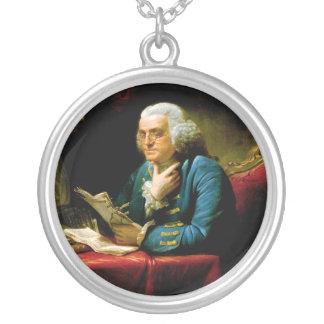 Benjamin Franklin by David Martin Round Pendant Necklace