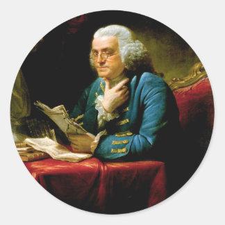 Benjamin Franklin by David Martin Classic Round Sticker