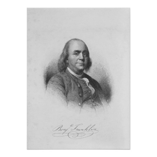 BENJAMIN FRANKLIN by Henry Bryan Hall Poster