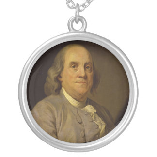 Benjamin Franklin by Joseph-Siffred Duplessis Round Pendant Necklace