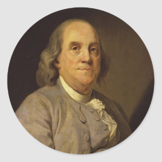 Benjamin Franklin by Joseph Siffred Duplessis Classic Round Sticker