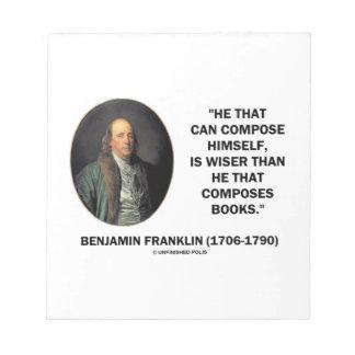 Benjamin Franklin Composes Himself Wiser Books Notepad