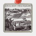 Benjamin Franklin conduce su experimento de la Adorno Navideño Cuadrado De Metal