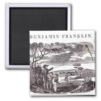 Benjamin Franklin conduce su experimento de la com Imán Cuadrado