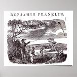 Benjamin Franklin conduce su experimento de la com Poster
