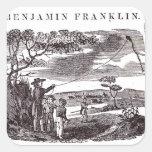 Benjamin Franklin conduce su experimento de la Pegatina Cuadradas Personalizada