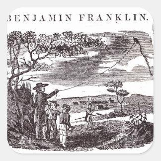 Benjamin Franklin conduce su experimento de la Pegatina Cuadrada