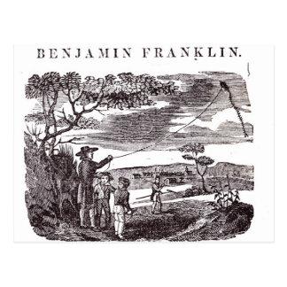 Benjamin Franklin conduce su experimento de la Postal